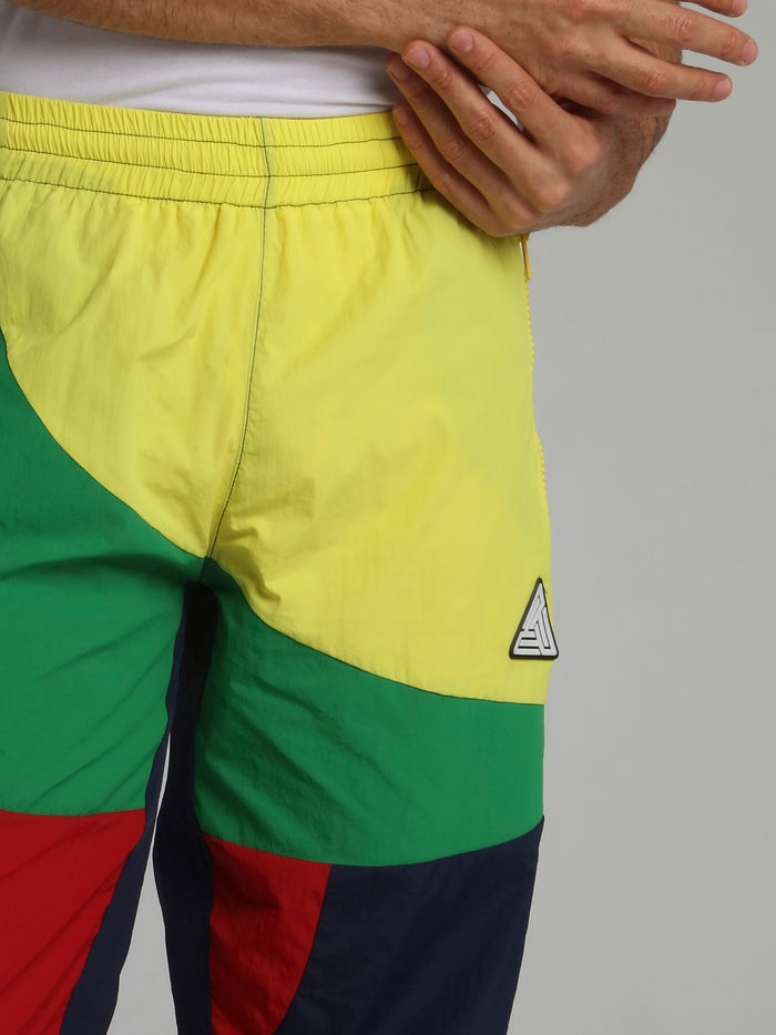 Colour Block Stretch Waistband Trousers