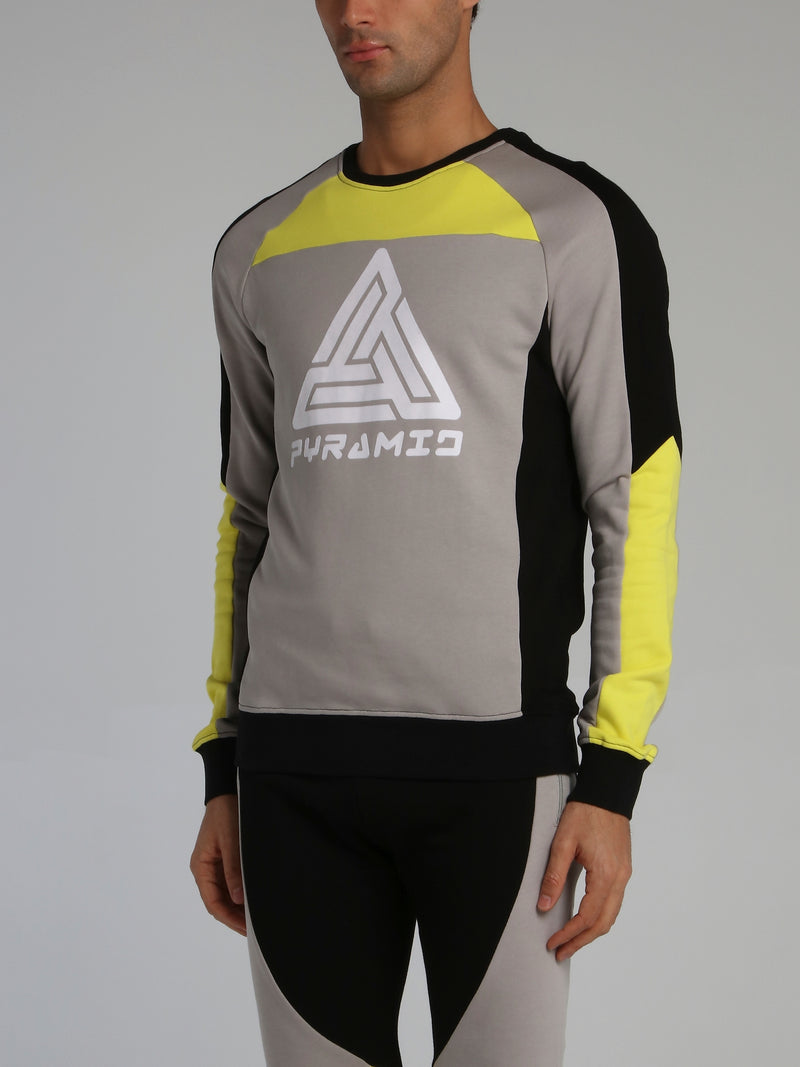 Colour Block Racer Round Neck Sweatshirt
