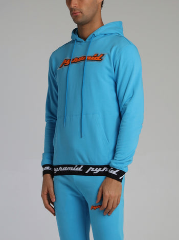 Neon Blue Core 3D Rubber Patch Ribbed Drawstring Hoodie