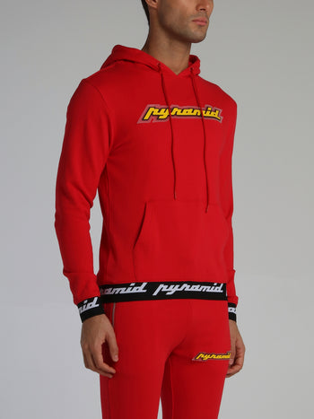 Red Core 3D Rubber Patch Ribbed Drawstring Hoodie