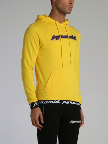 Yellow Core 3D Rubber Patch Ribbed Drawstring Hoodie