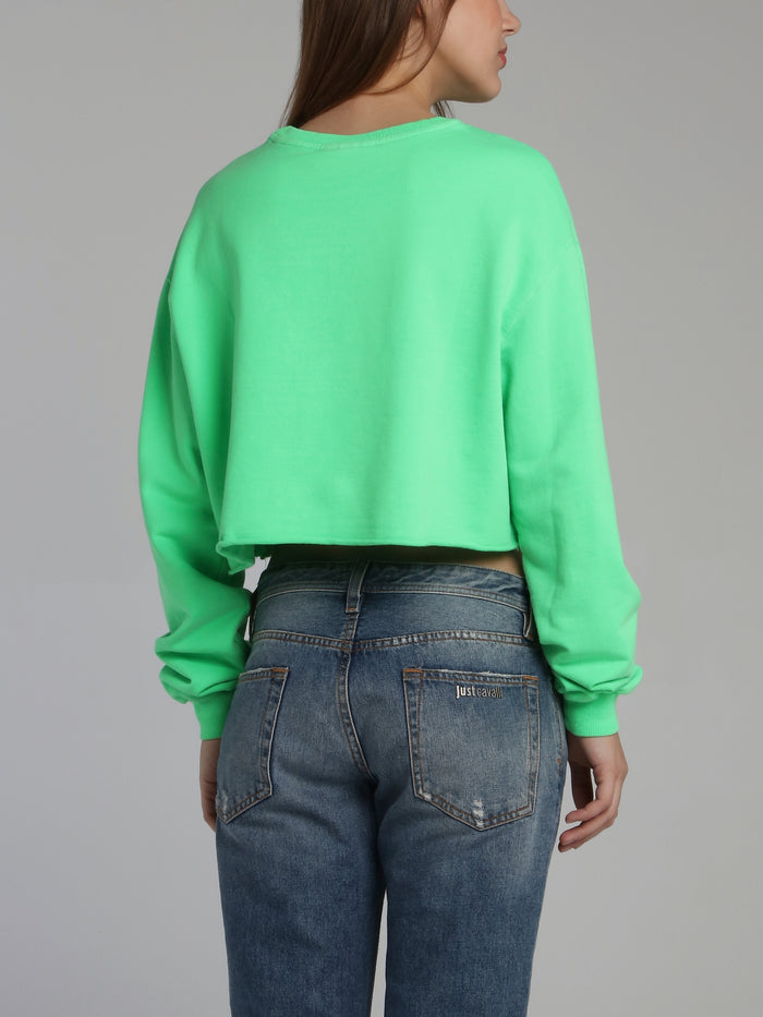 Neon Green Statement Cropped Sweatshirt