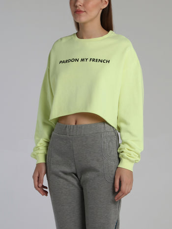 Neon Yellow Statement Cropped Sweatshirt