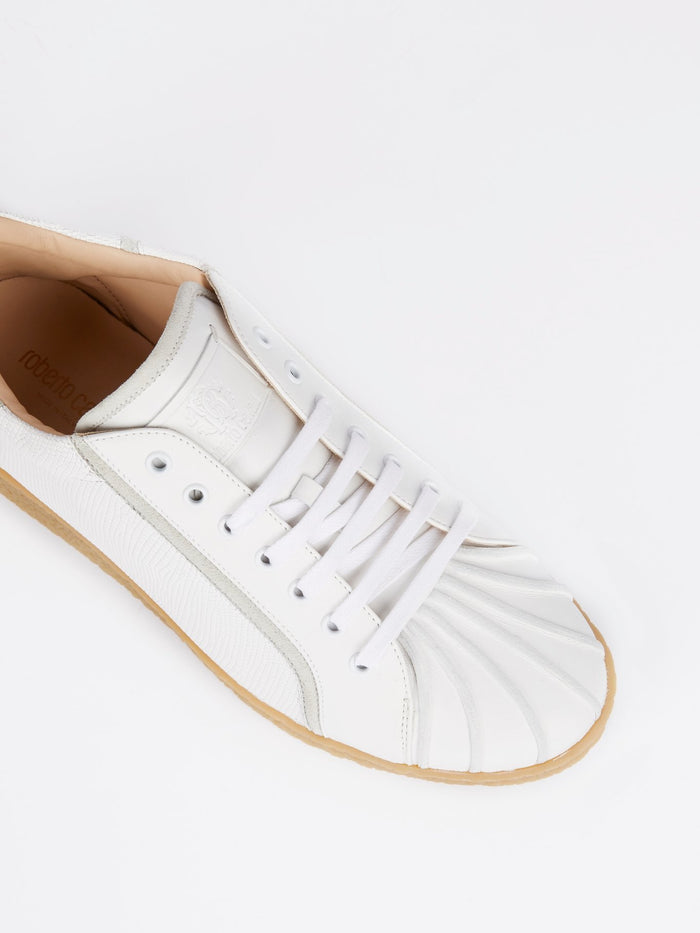 White Textured Leather Rear Logo Sneakers