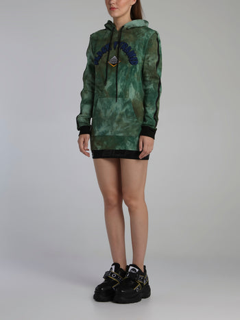 Green Tie Dye Drip Hoodie Dress