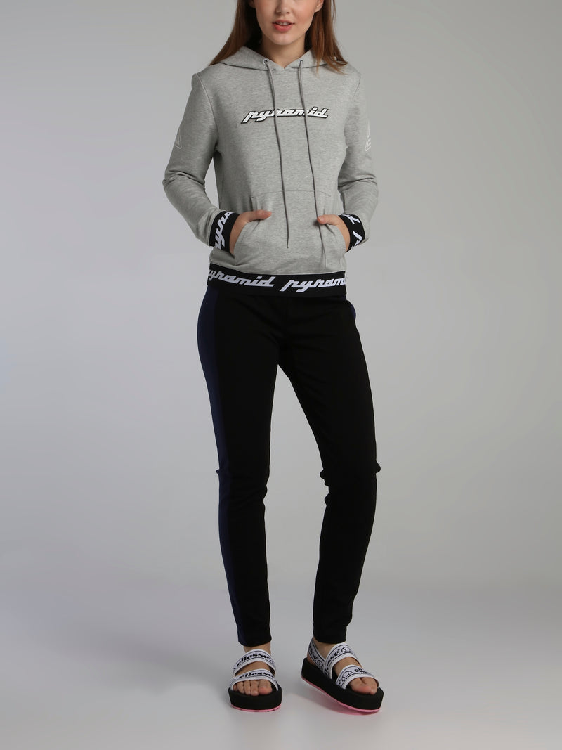 Grey Core 3D Rubber Patch Drawstring Hoodie Sweatshirt