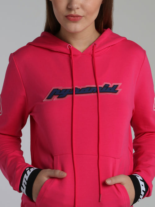 Neon Pink Core 3D Rubber Patch Drawstring Hoodie Sweatshirt
