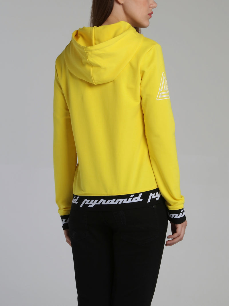 Yellow Core 3D Rubber Patch Drawstring Hoodie Sweatshirt