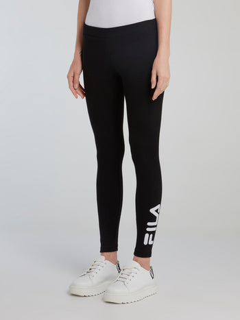 Black Rib Logo Leggings