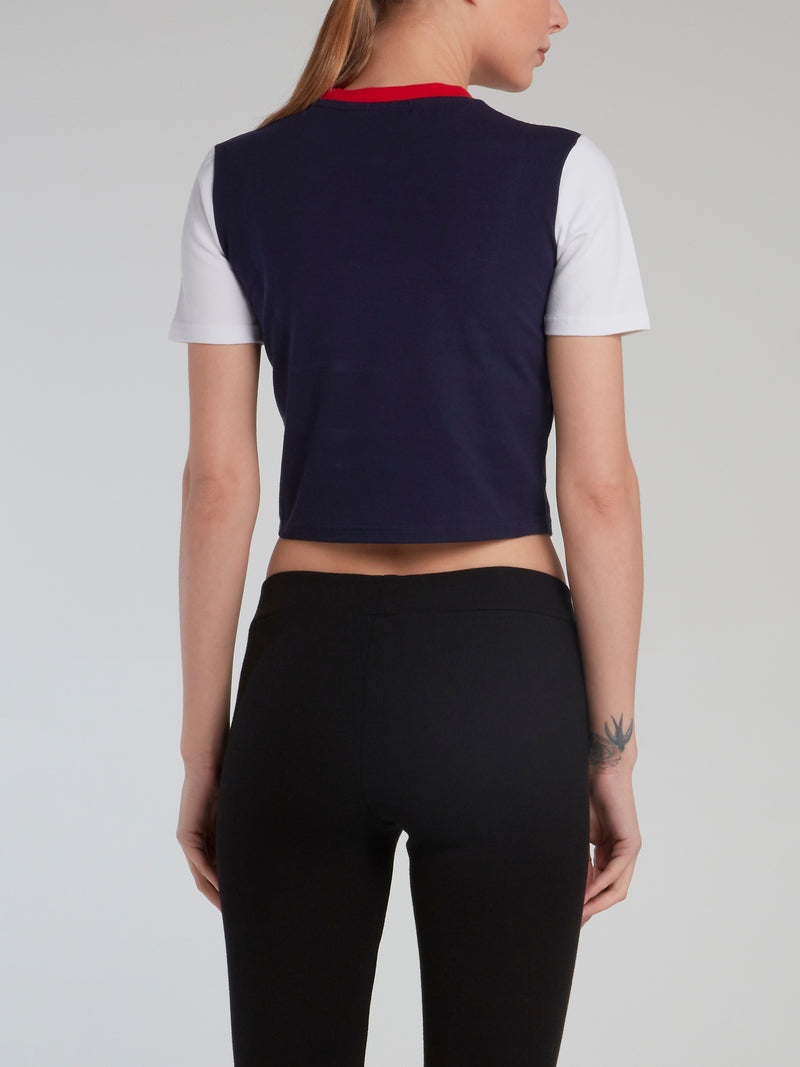 Colour Block Fitted Cropped T-Shirt