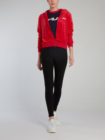 Red Embossed Print Velour Sweatshirt