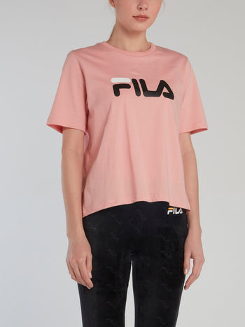 Pink Logo Cotton T-Shirt