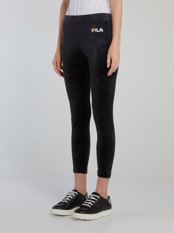 Black Cropped Velour Leggings