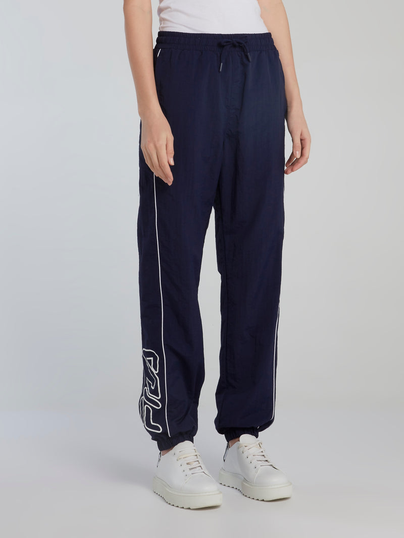 Navy Piped Logo Track Pants
