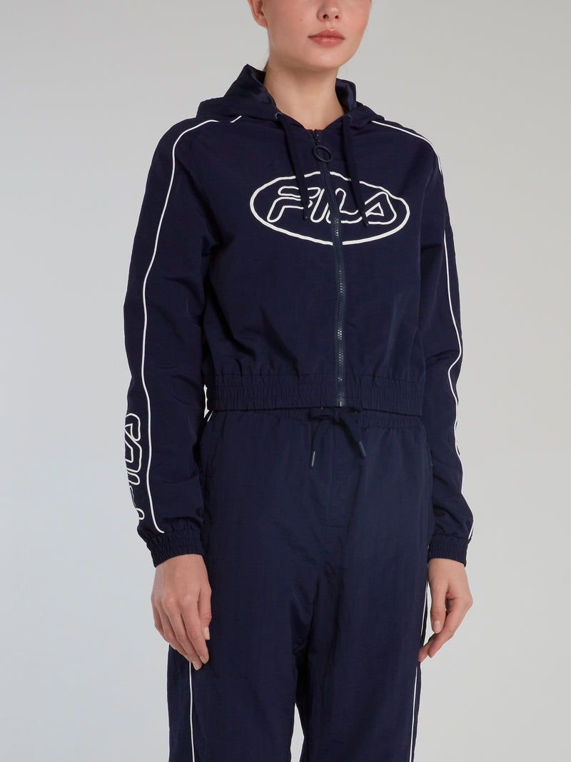 Navy Hooded Logo Track Top
