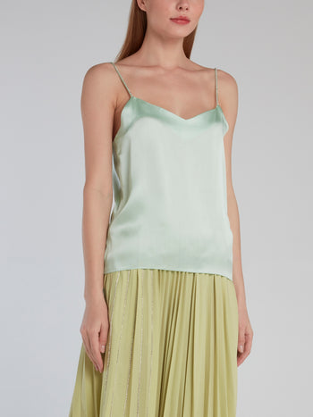 Mint Crystal Studded Silk Cami Top