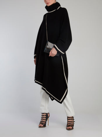 Black Merino Wool Poncho