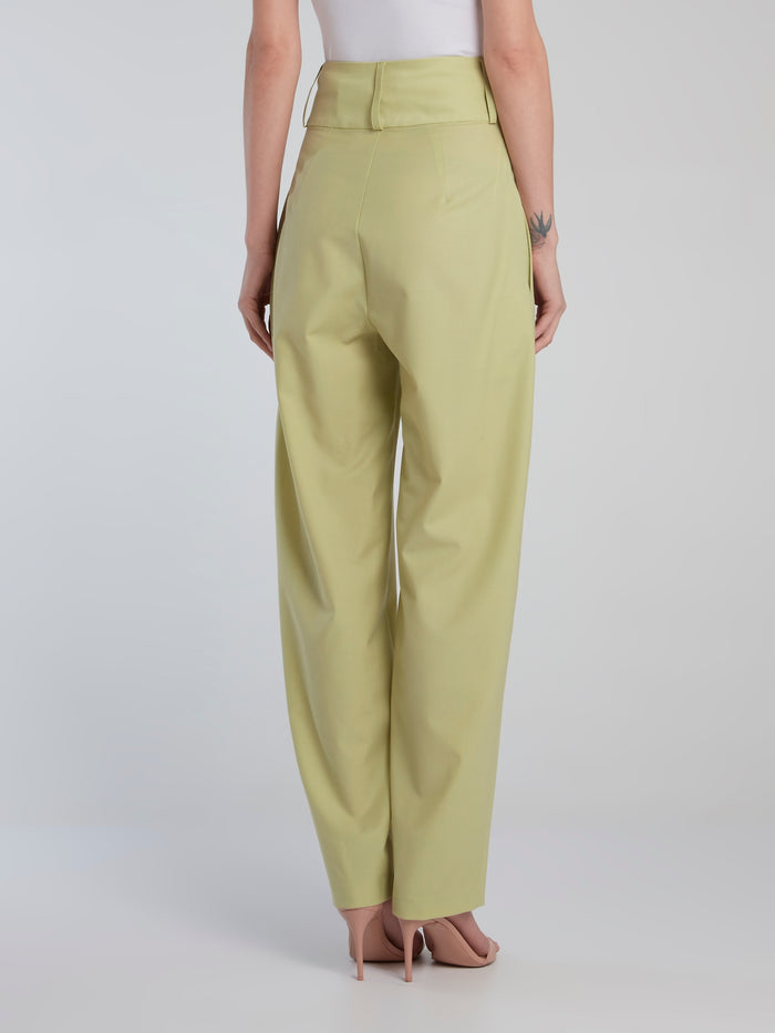Lime High Waist Front Pleated Tapered Trousers