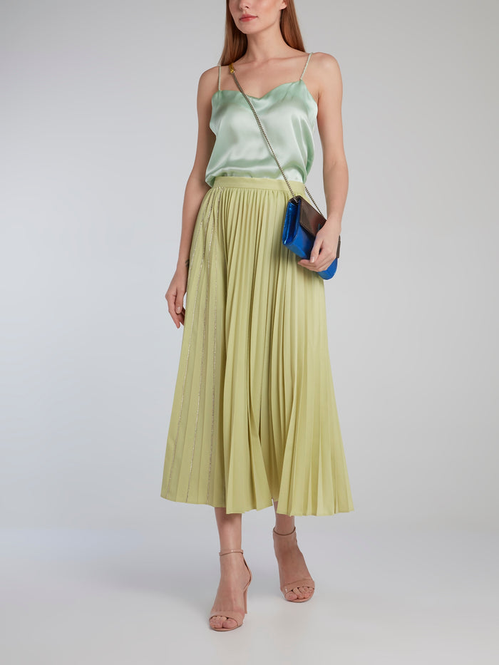 Lime Crystal Studded Accordion Midi Skirt