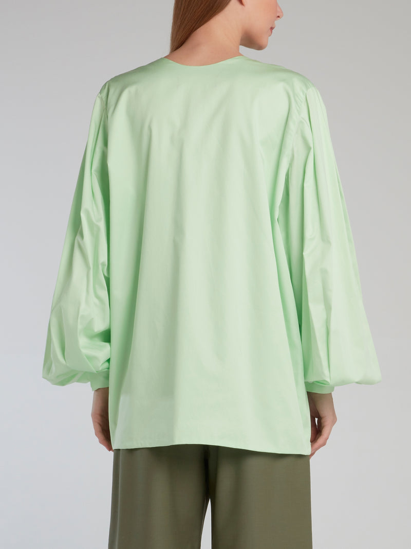 Mint Bishop Sleeve Plunging Shirt