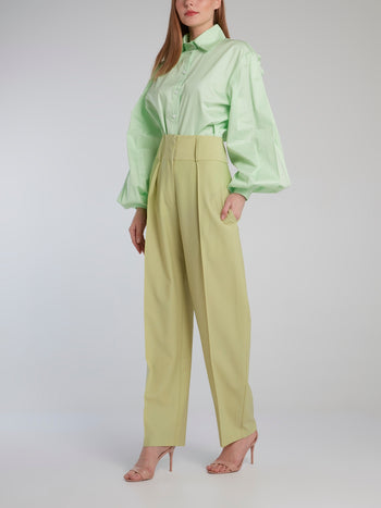 Mint Open Back Bishop Sleeve Shirt