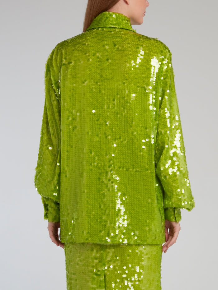 Neon Green Bishop Sleeve Sequin Shirt