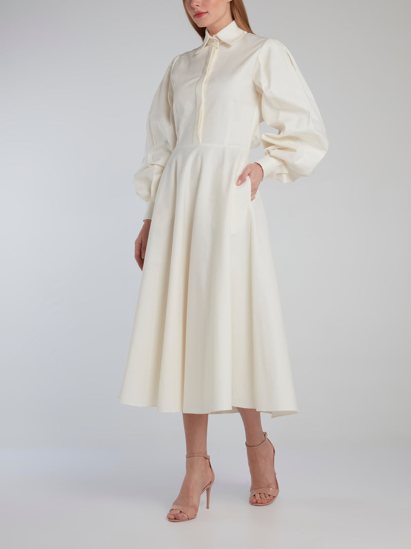 White Open Back Bishop Sleeve Shirt Dress