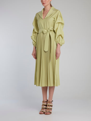 Lime Long Sleeve Accordion Shirt Dress