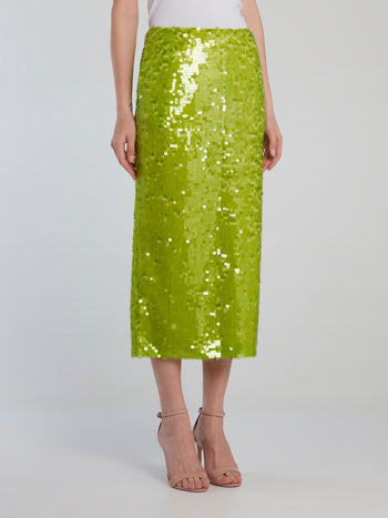 Neon Green Sequin Pencil Skirt