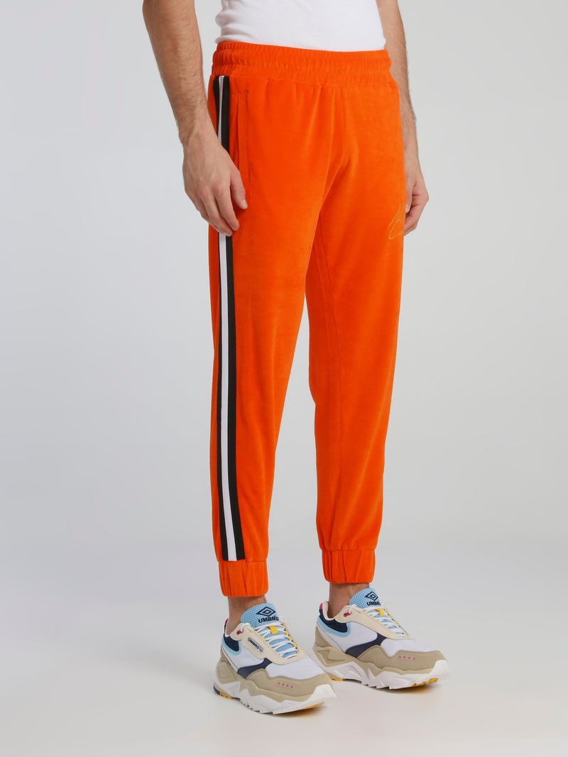 Orange Waistband Chenille Track Pants
