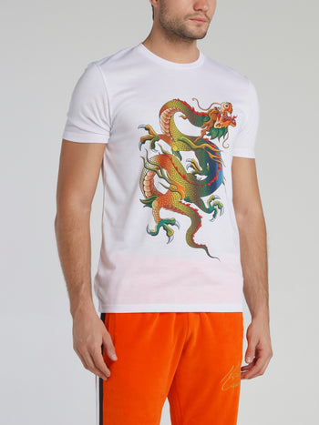 White Dragon Print T-Shirt