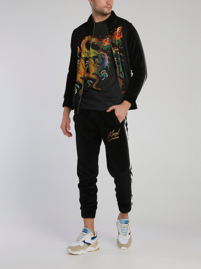 Black Waistband Chenille Track Pants