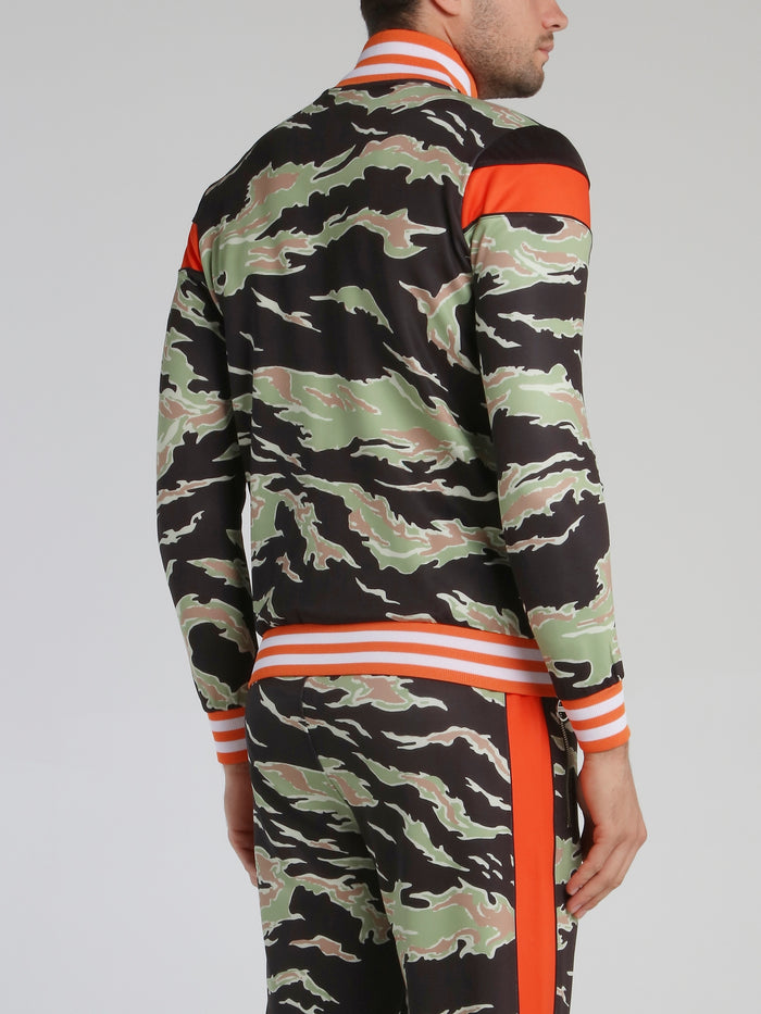 Stripe Trim Camo Sweatshirt