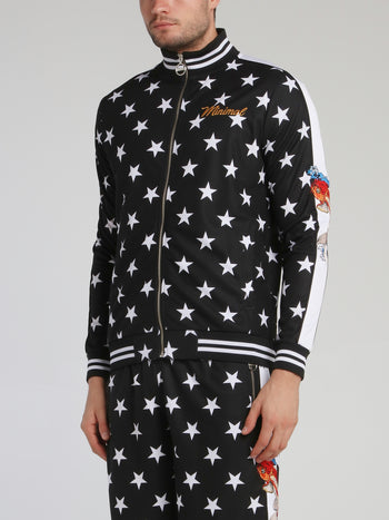 Stars And Carp Stripe Trim Sweatshirt