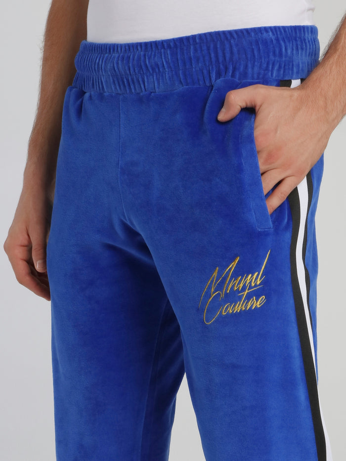 Blue Waistband Chenille Track Pants