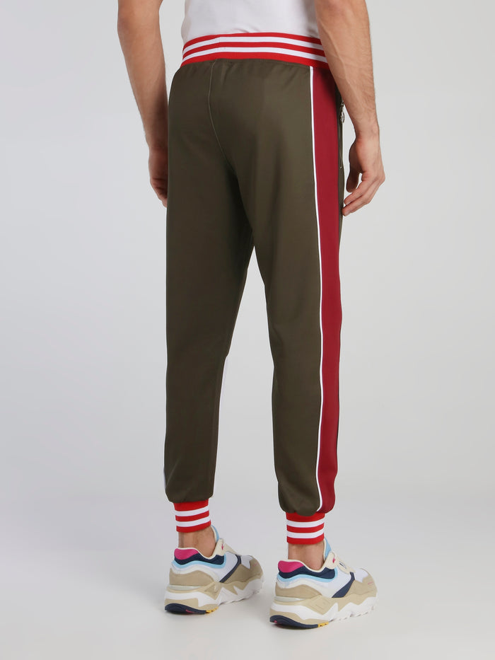 Rose Print Stripe Trim Sweatpants