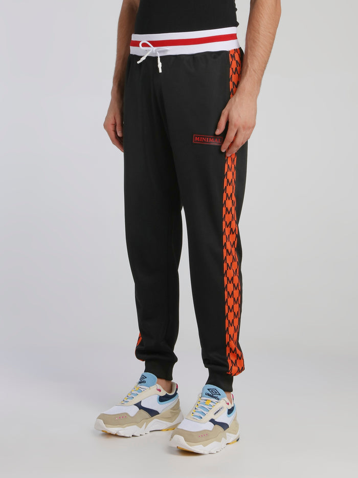 Black Striped Waistband Drawstring Track Pants