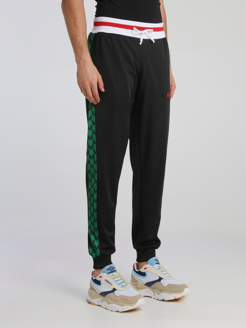 Black Side Band Drawstring Track Pants