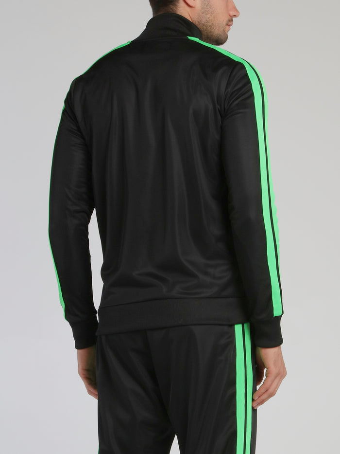 Black with Green Contrast Lining Sweatshirt