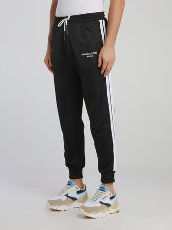 Black Contrast Side Stripe Sweatpants