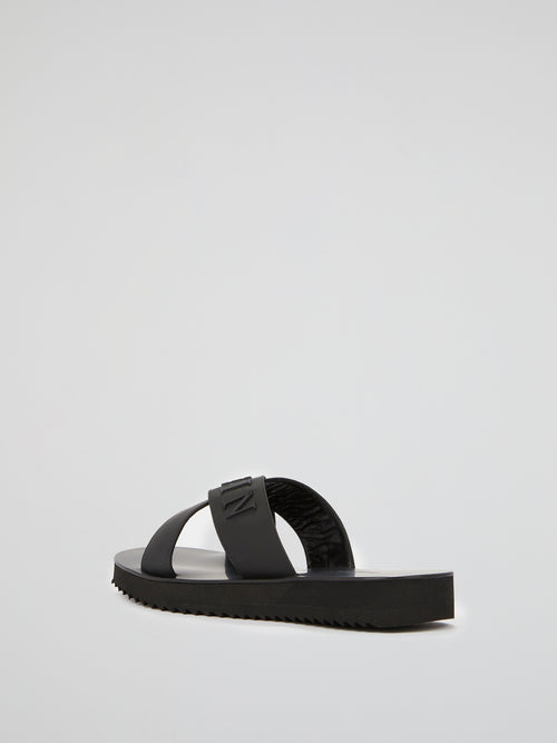 Black Logo Criss Cross Sandals