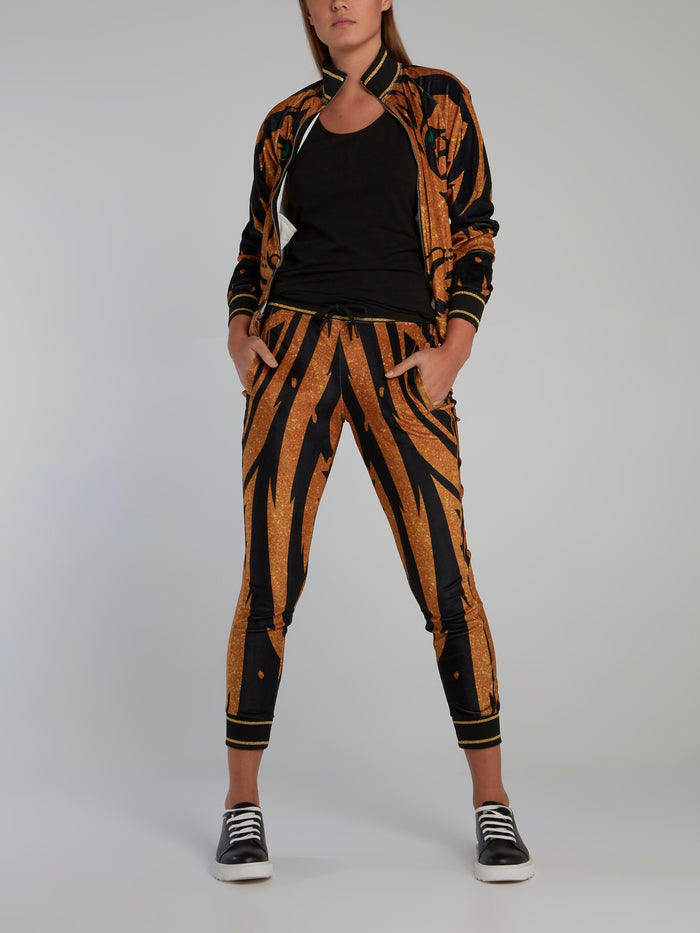 Gold Tiger Chenille Capri Pants