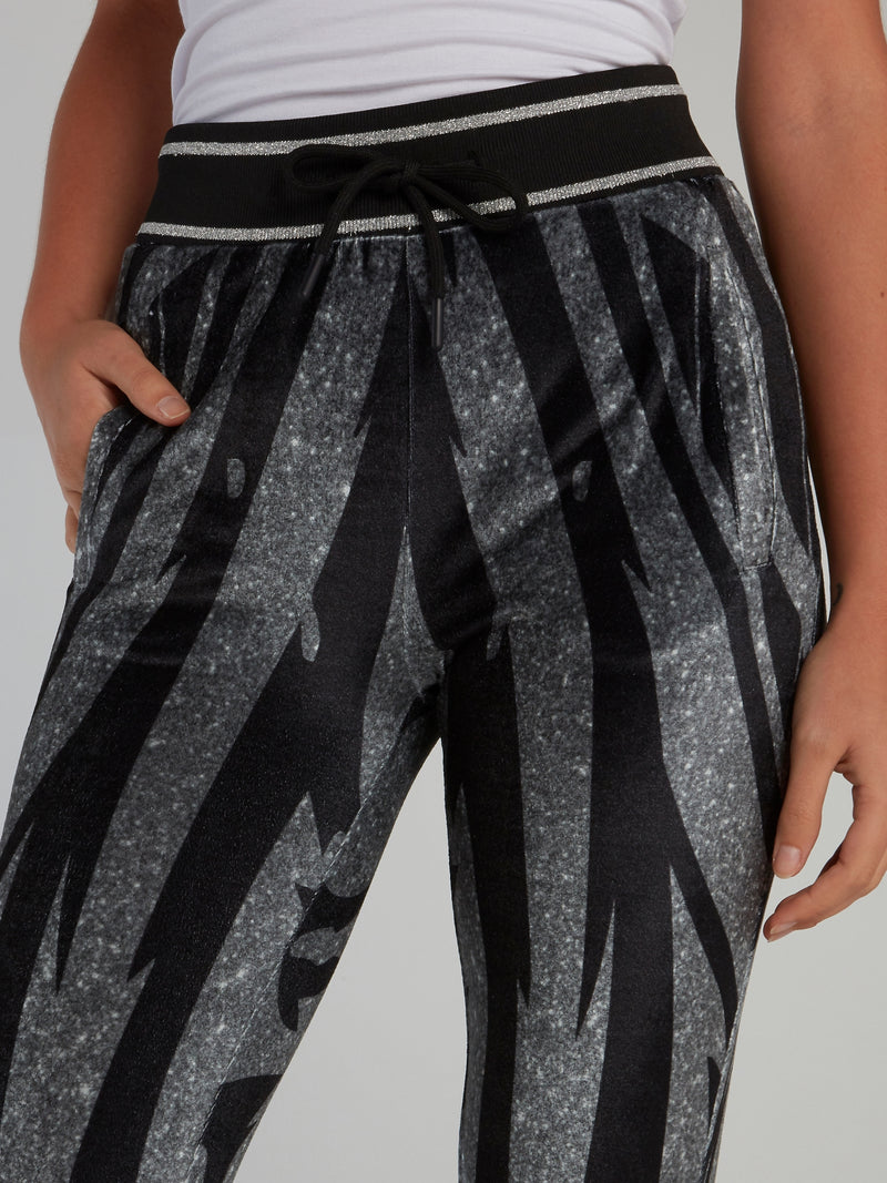 Black Tiger Chenille Capri Pants