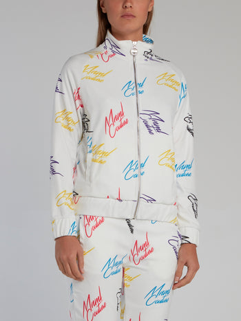 White Signature All Over Sweatshirt