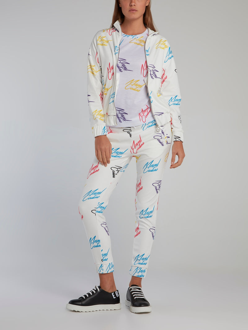 White Signature All Over Trousers