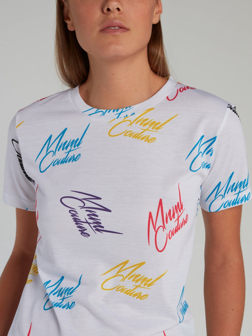 White Signature All Over T-Shirt