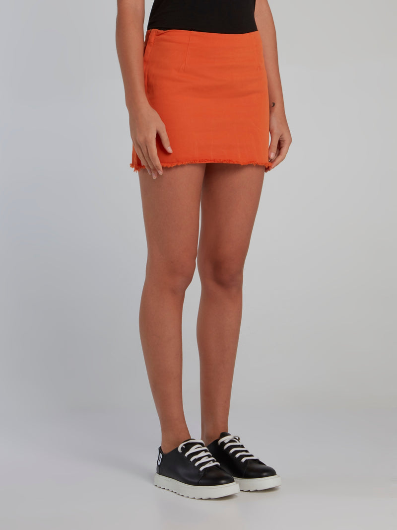 Orange Logo Tape Frayed Mini Skirt