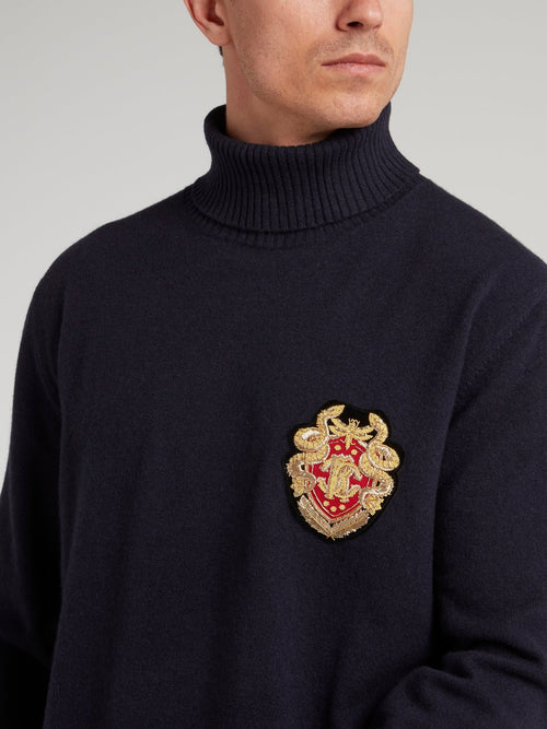 Navy Logo Appliquéd Turtleneck Top