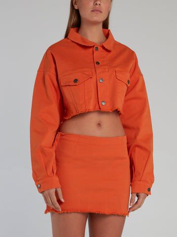 Orange Frayed Short Jacket