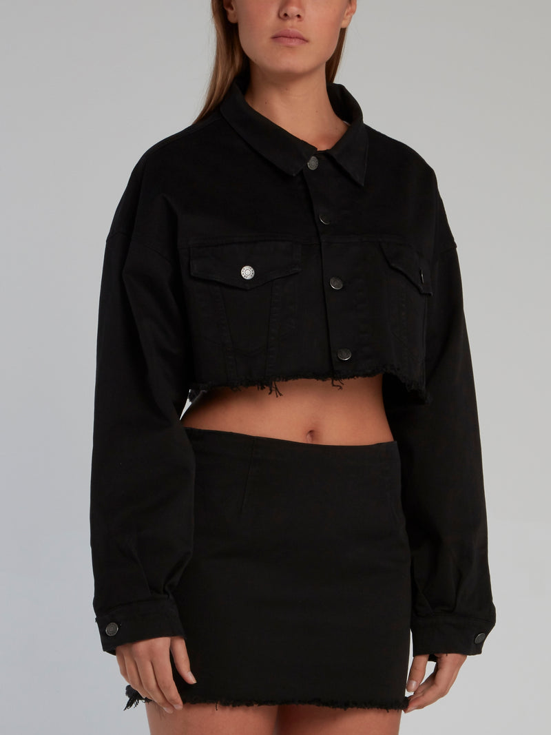 Black Frayed Short Jacket